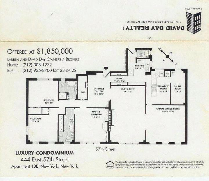 Marilyn Monroe Apartment Floor Plan At 444 E 57 St New York Ny She Lived Here With Arthur Miller Got It In The Divorce Still