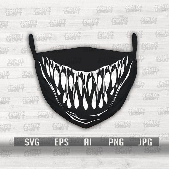 Digital Download Monster Teeth For Face Mask Print Scary Etsy In 2021 Monster Face Mask Scary Faces