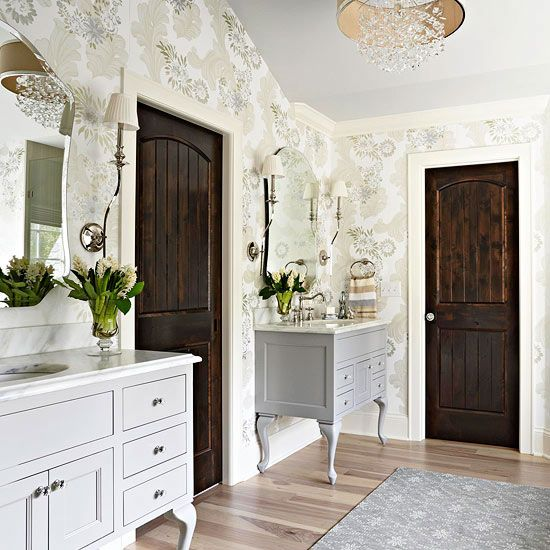 dresser-style vanities and the dark doors
