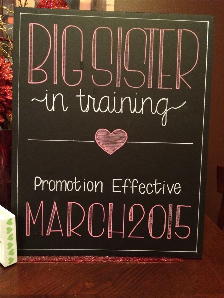 """Big Sister"" Hand Painted Chalkboard Sign for when expecting 2nd Child, 16x20"