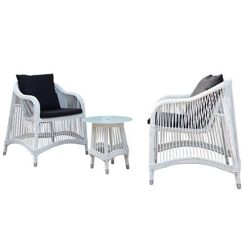 Nice 3pc Outdoor Wicker Balcony Set - White - Milan Direct