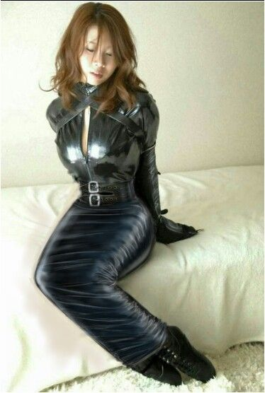 Latex pencil skirt walking in extreme heels Part 9