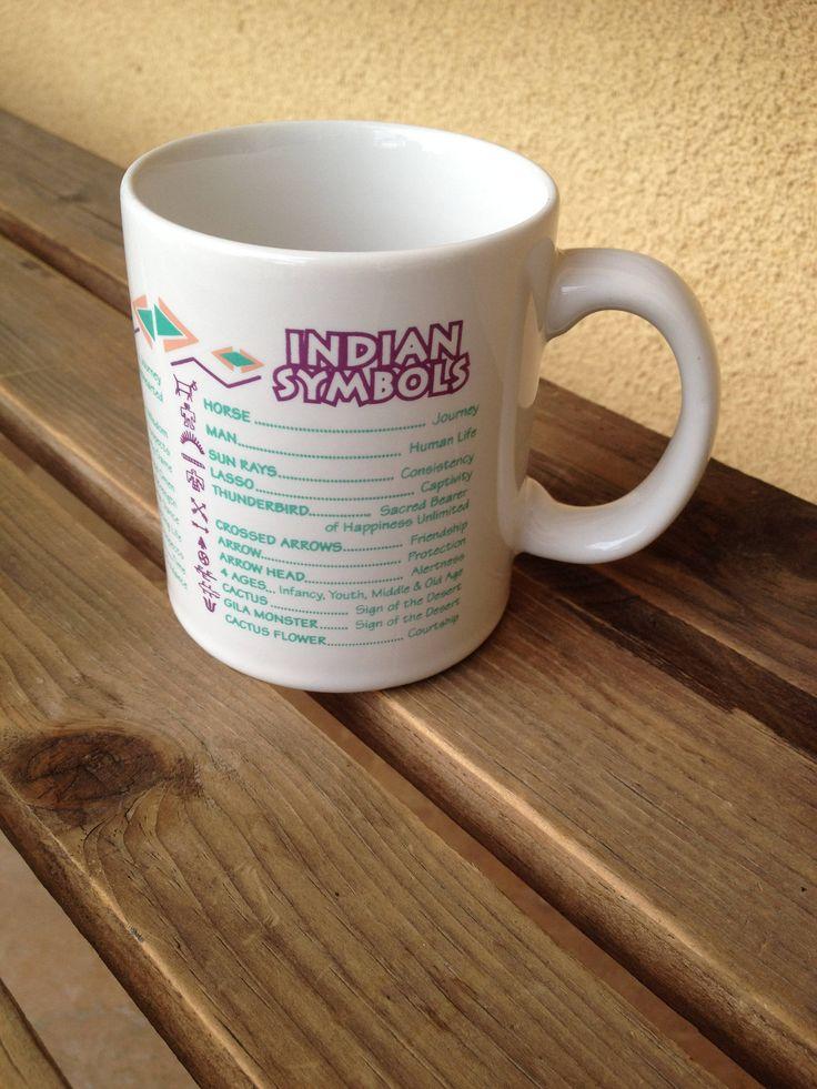 Tribal Coffee Mug, Indian Symbols mug, Southwestern Mug, Tribal Coffee cup , Tribal Kitchen, Southwestern Kitchen, Tribal Decor, Indian cup by WeFindVintage on Etsy