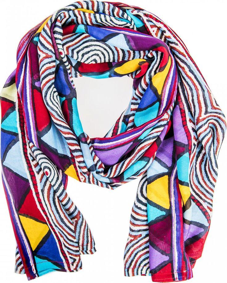 Desert Journey Scarf Top - Digitally printed silk chiffon featuring authentic aboriginal dreamtime design