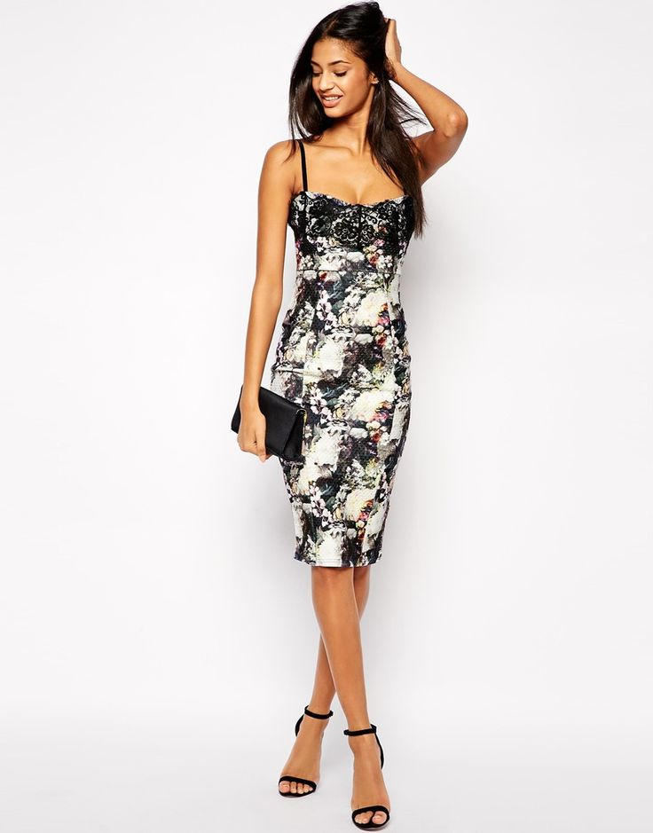Image 4 ofLipsy Printed Cami Bodycon Dress with Lace Bust