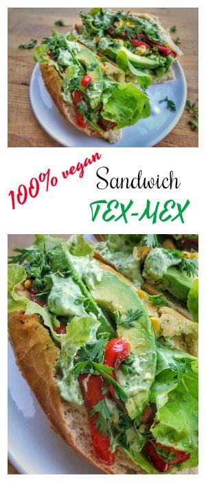 Sandwich vegan tex-mex : avocat, poivron, maïs et sauce vegan #sandwich #vegan #avocado