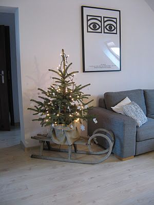 small tree; creative utilization of thinking out of the box - using what one owns to enhance decor