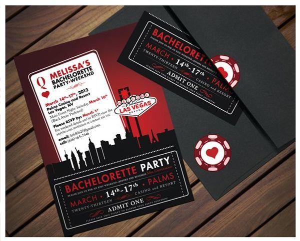 "Vegas themed bachelorette party ""ticket"" invitation."