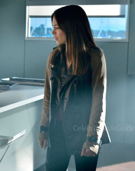 Seen on Celebrity Style Guide: Beauty and the Beast Fashion: Kristin Kreuk, as Catherine Chandler, wears this canvas-sleeve leather jacket on Beauty and the Beast...Get It Here: http://rstyle.me/~1iPsy