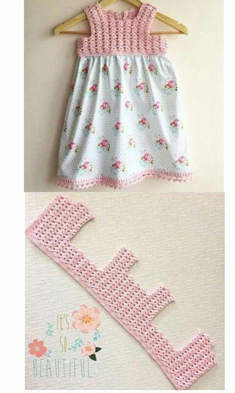 Vestido de crochet y tela, canesu a ganchillo y faldón de tela.