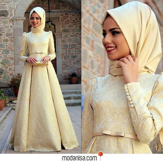 Brokar desenli kumaşıyla dikkat çeken abiye elbise özellikle kış düğünleri için…: