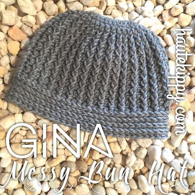 Haute Kippy: Gina Messy Bun Hat free crochet pattern
