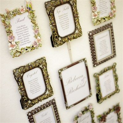 This is what I have in mind... get great picture frames... put table placing inside... YES!!!!