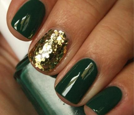 Glam Glitter Nails: Evergreen Scheme. Strategic use of glitter is your nail art BFF this season. A fine-tipped pen (find one at a local art or fabric store) will give you a precise, textured design. Take inspiration from your favorite ornament and style swirls over a deep red polish. #SelfMagazine