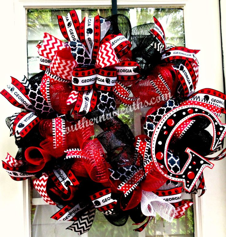 Deco Mesh University of Georgia Door Wreath~ Georgia Bulldogs Front Door Decor~Red Black UGA Bulldogs Wreath - pinned by pin4etsy.com