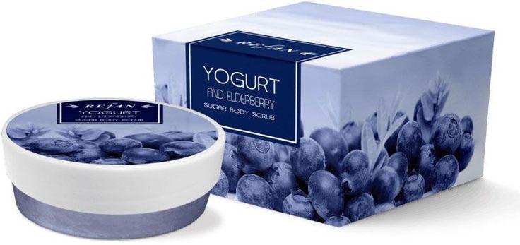 Áfonya és Joghurt testradír - Páratlan kombinációja a természetes cukor kristályok, a tiszta mandula, szőlőmag, sárgabarackmag olaj és az erdei gyümölcsök friss illatával. Bodza és gyümölcskivonat tartalma, és a joghurt antioxidáns és gyulladáscsökkentő hatású. ©Refantázia