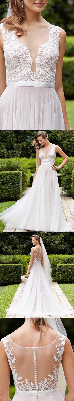Affordable Seen Through V Neck Lace Top Popular Formal Long Wedding Dresses, WG675 #weddingdress #bridaldress #wedding