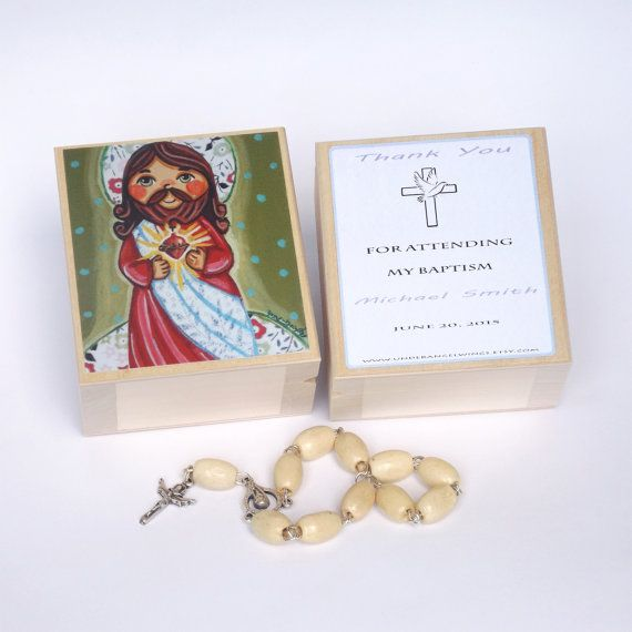 Sacred Heart of Jesus Wooden keepsake box First Communion favors Personalized keepsake box Rosary box Baptism favors Christening gifts
