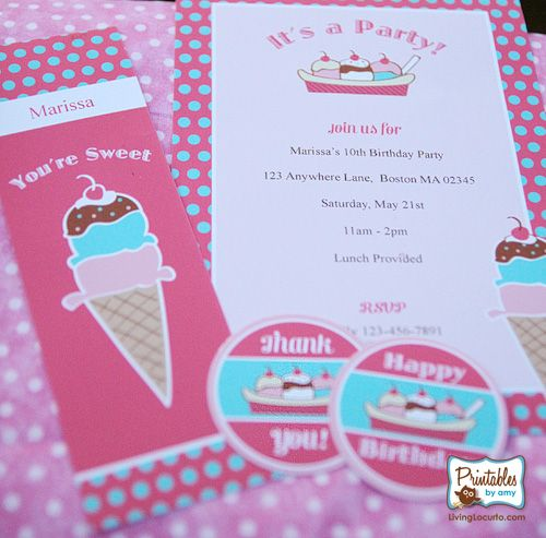 """Take 50% OFF with the code """"SummerFun"""" On this Ice Cream Party Printable Collection!  Offer Expires, 8-25-13 at Midnight (CST) http://shop.livinglocurto.com"""