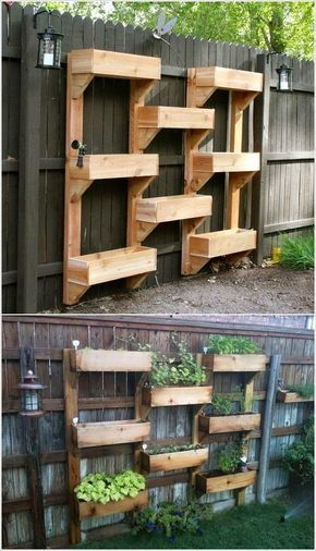 vertical gardening ideas with wooden fence. Another perfect way to grow strawberries!!
