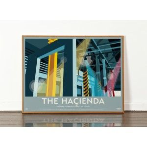 Lost Destination: The Hacienda Club Print | i love retro | Designed & produced in Liverpool, England! Financed by Factory Records and New Order and designed by Ben Kelly, The Haçienda (FAC51) opened its doors on 21 May 1982 and played an intrinsic role in the rise of acid house, rave and the Madchester scene. It was also one of the first nightclubs in Britain to start playing house music. Once a warehouse for a yacht builders shop, the frontage was curved and made of red brick on the corner…
