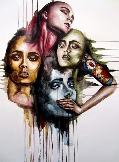 """ MATRIOSKA""  Watercolor on Paper - 60x80 - 2013 - Angela Di Folco"