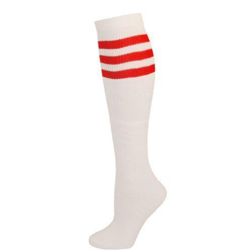 AJs Retro Knee High Tube Socks - White, Red-M AJs. $10.29