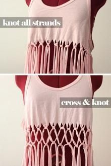 DIY Macramé Tank Top. Thinking about doing this with a big oversized