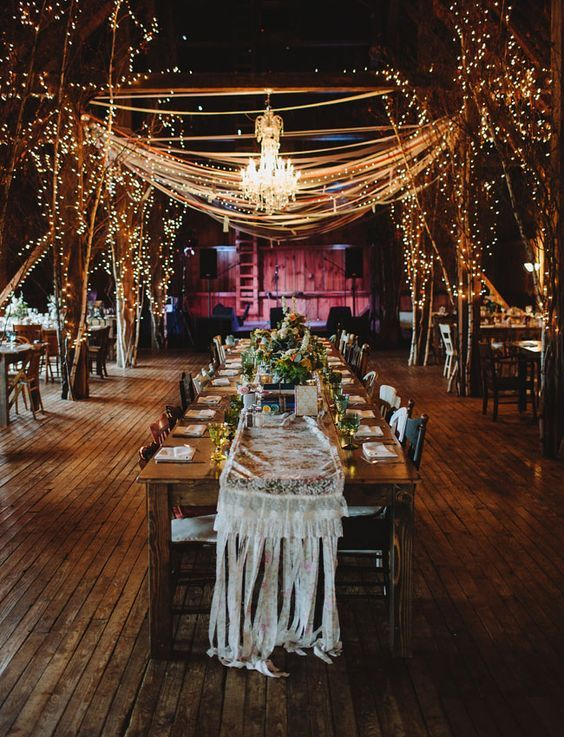 barn reception with gorgeous lighting and lace table runner / http://www.himisspuff.com/rustic-indoor-barn-wedding-reception-ideas/