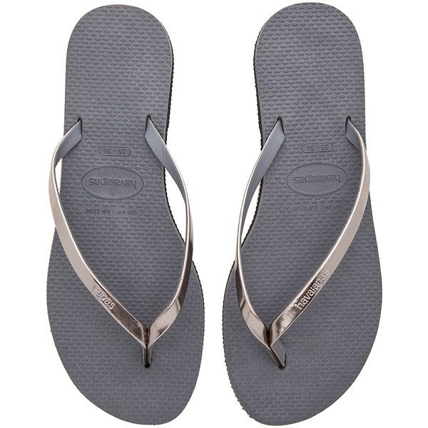 Havaianas You Metallic Flip Flop ($37) ❤ liked on Polyvore featuring shoes, sandals, flip flops, havaianas shoes, metallic shoes, rubber flip flops, rubber sole shoes and havaianas flip flops
