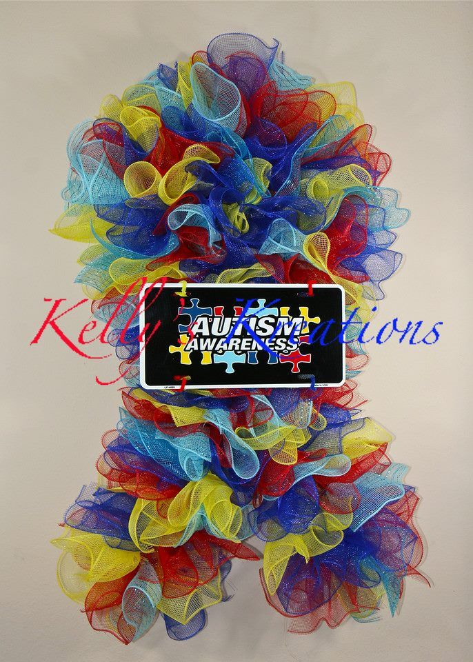 Autism wreath by Kelly Krider Deco Mesh