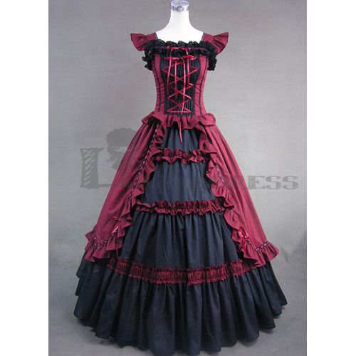 Online Halloween Sleeveless Bandage Ruffled Black and Red Women Gothic Victorian Dresses Costume