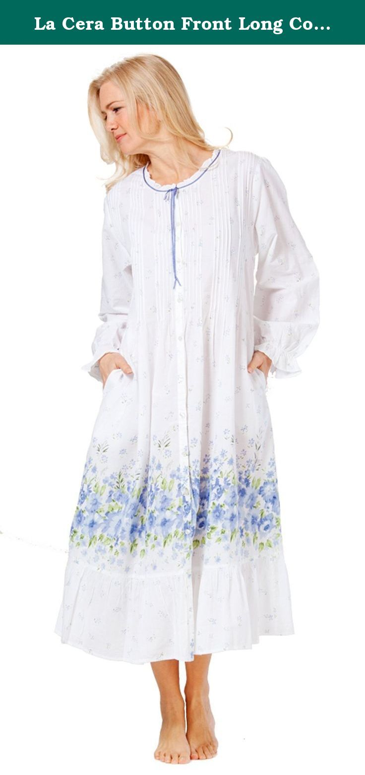 La Cera Button Front Long Cotton Robe Nightgown in Meadow Mist (Medium  (10-12) f12dc3eb7