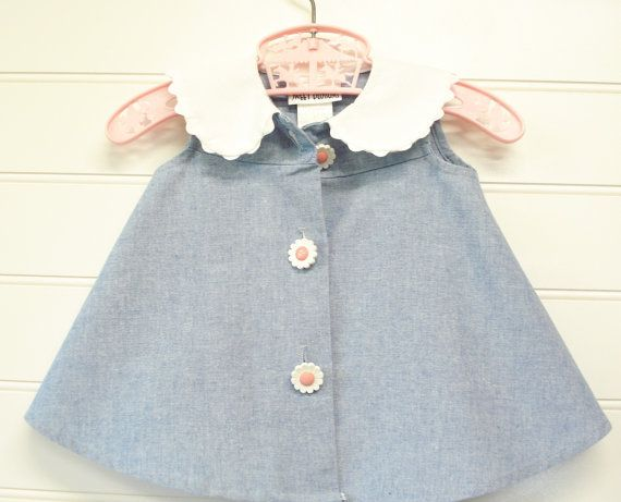 Vintage Baby Clothes/ Baby Girl Dress Chambray by OnceUponADaizy, $14.00