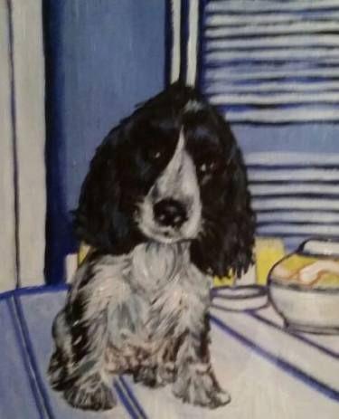 """Saatchi Art Artist Mar Ruiz Bilbao Art; Drawing, """"B&W English Cocker Spaniel puppy, Trufa!"""" #art"""
