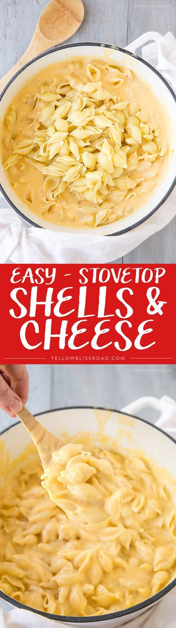 Easy, Cheesy Stovetop Shells & Cheese - The best Macaroni & Cheese Recipe that will make you ditch the blue box forever!