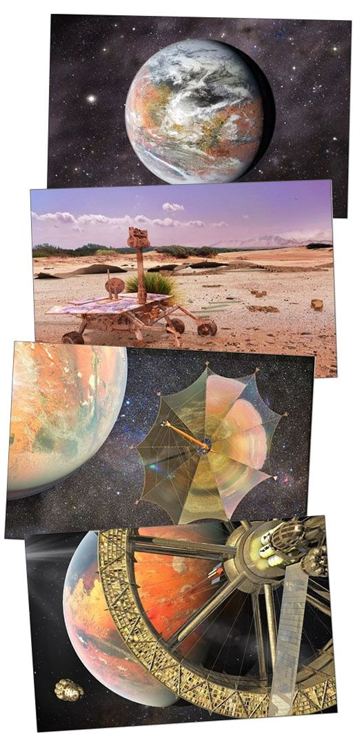 Modified Mars from space, Opportunity's Bicentennial, Solar Sail Johannes Kepler and the Mars Space Elevator - colorful space art on greeting cards, puzzles, posters and pillows.