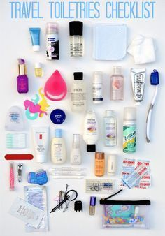 Tips on how to pack a travel toiletries bag - checklist included! | Travel tips | Travel hacks