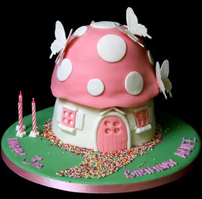 Toadstool birthday cake