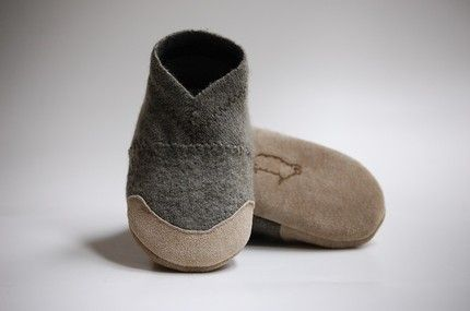 barefoot felt slippers  | baby slippers from upcycled wool sweater - The Alternative Consumer