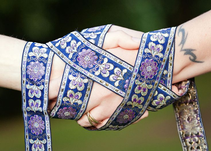 Handfasting is an ancient ritual of the Scots. It goes back to the  Celts, they were with many races but this was their common ritual.