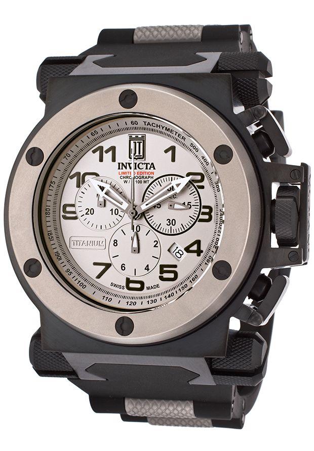 Invicta 14516 Watches,Men's Jason Taylor Black Polyurethane Chronograph Titanium Dial, Limited Edition Invicta Quartz Watches