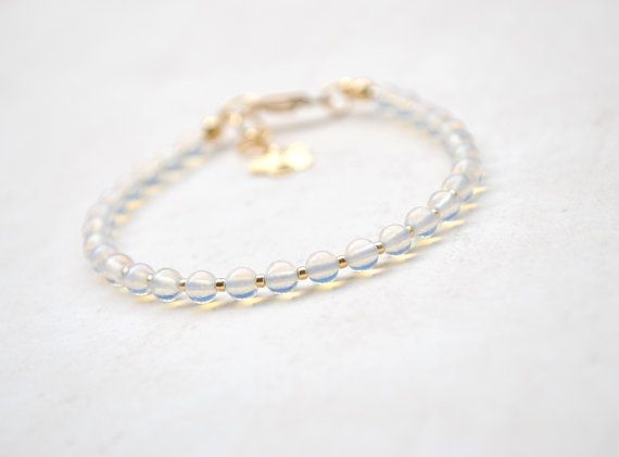 Delicate Opalite and Gold Bracelet Friendship by elfinadesign