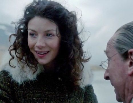 "Claire (Caitriona Balfe) and Ned in Episode 105 ""Rent"" of Outlander on Starz 