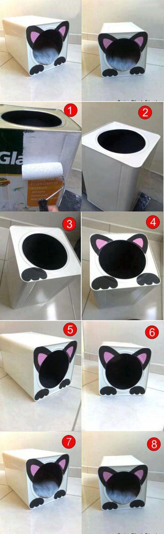 Tutorial para hacer una guarida a tu gato con un tarro de pintura grande =) Esta…