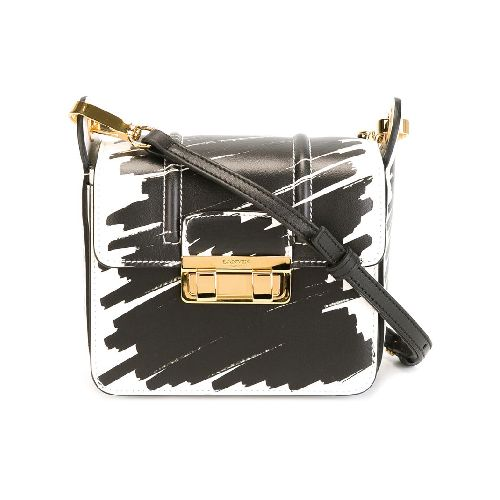 Get Now! Black and white calf leather and cotton 'Jiji' print shoulder bag from Lanvin featuring a foldover top with push-lock closure, gold-tone hardware, an adjustable shoulder strap, multiple interior compartments and an internal logo stamp. Size: OS. Color: Black. Gender: Female. Material: Calf Leather/Polyester/Cotton.