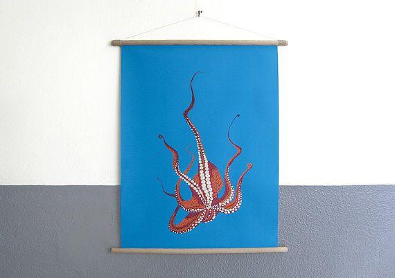 canvas poster Stitches  Octopus print van geborduurde