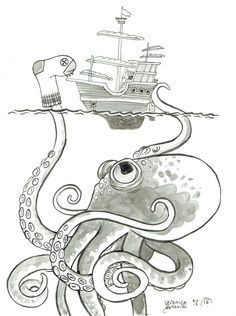 """5x7"""" black and white post card on heavy cardstock. Blank back. From the #100monsters project in the first part of 2015. This clever kraken is more than he seems to the terrified crew of this tall ship"""