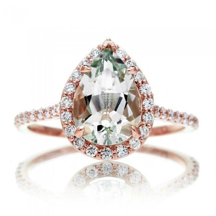 Green Quartz Prasiolite engagement ring pear 10x7 cut diamond halo wedding band rose gold