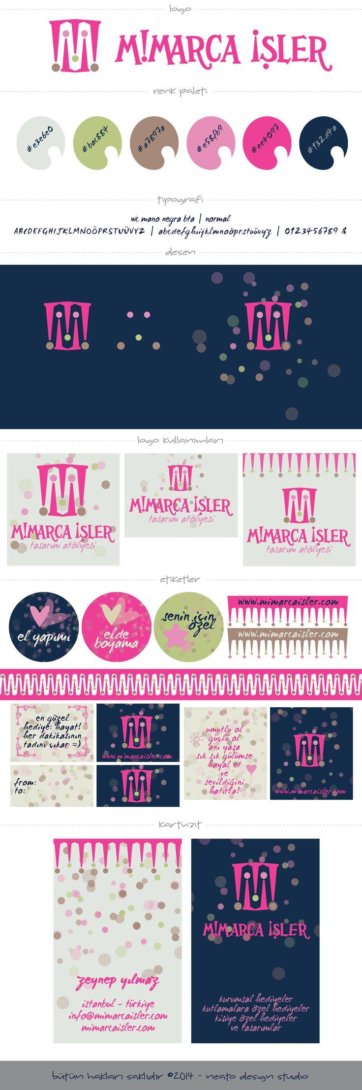 Mimarca İşler marka tasarımı #branding #concept #pink #pembe #marka #tasarım #dots #puantiye #cute #handmade #logo #desen #texture #businesscard #kartvizit